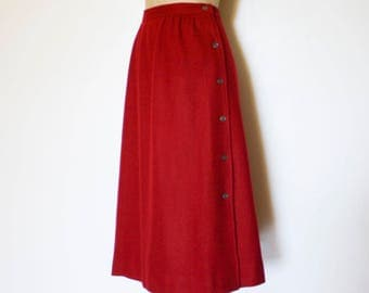 Red Wool Side Button Skirt