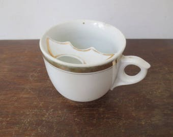Vintage White & Gold Mustache Mug, Teacup / Coffee Mug