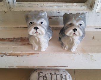 2 old vintage DOG salt & pepper shakers Schnauzer * Ms Bingles figure figurine