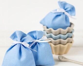Light blue gift bags - Wedding favor bags - Linen favor bags - Baptism favor bags - Blue party bags - Baptism gift bags - christening favors