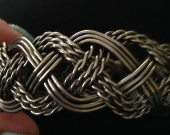 """Hand Crafted Metal Rope & Straight Braided Ladies Bangle Bracelet 1"""" wide"""