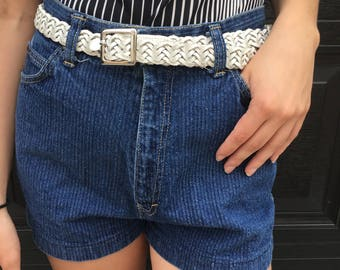 FREE SHIPPING!: Vintage 1990s Stripe Textured High-Waisted Denim Shorts