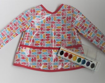 READY TO SHIP 2/3 Long Sleeve Toddler Baby Bib Toddler Art Smock in White with Mini Owls
