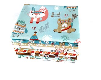 Woodland Forest animals Bundle of 10 Fat Quarters, Baby fabric 100% cotton fabric for Quilting and general sewing projects.