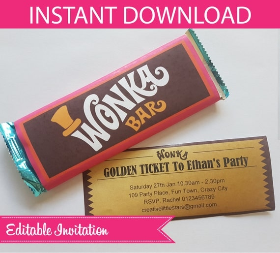 Willy Wonka Invite Covers Hershey Bar DIY Printable INSTANT