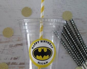 Batman • Super Hero • Plastic Disposable Party Favor Cups w/ Lids, Straws & Tags • Set of 12