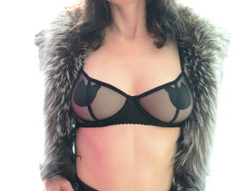 Women Sleepwear & Intimates Bras The  Black Satin Cat Insert Sheer Cup Underwire Black Mesh Bra MADE TO ORDER