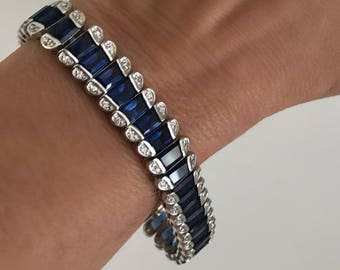Vintage Silver Blue Sapphire Fancy Cut Baguette Estate Jewelry Bracelet Tennis Bracelet White Stone Blue Stone Multi Stone Formal Bracelet