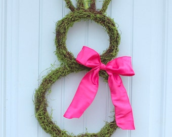 Spring Wreath - Easter Wreath - Moss Bunny Wreath - Two Sizes