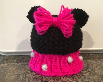 Adorable Minnie Mouse Knitted Hat - Infant, Child and Adult Sizes Available