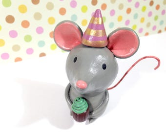 Celebration Mouse Figurine - One of a Kind Art Sculpture