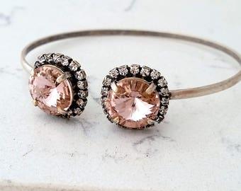 Blush bracelet,Bridal bracelet,Blush bridesmaid gift,Cuff bracelet,Morganite bracelet,Bridal bracelet,Swarovski bracelet,crystal bracelet