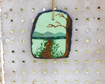 Handpainted Slate - Recycled Slate - Nature Wall Hanging - Garden Patio Decor - Hiking Trail Painting - Decorative Slate - Nature Home Decor