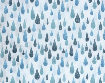 Kokka Trefle Japanese double gauze fabric - icy rain drops - 1/2 YD
