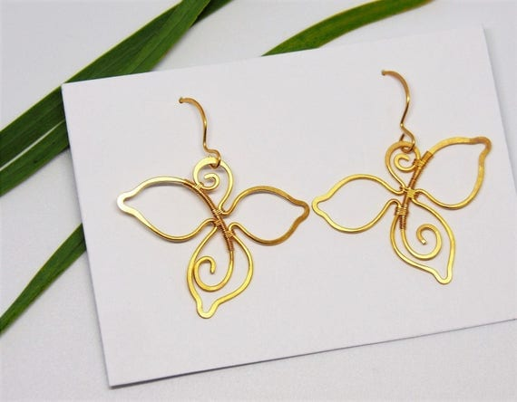 Gold leaf earrings Dangle Wire Bridal Wedding Leafy Nature jewelry Bride Bridesmaids gifts for women Anniversary gift Christmas gifts