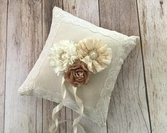 Ring bearer pillow, natural linen and cream lace wedding ring bearer pillow with flowers and rhinestone buttons.