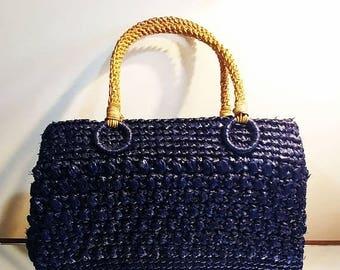 VALENTINES DAY SALE Vintage 60s Hollywood Shaggee Navy Straw Raffia Purse w Braided Handle vintage purse vintage handbag summer purse navy p