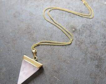 Rose Quartz Delta Necklace | Rose Quartz Triangle Necklace | Rose Quartz Jewelry | Rose Quartz Necklace | Bridesmaid Necklace | Bridesmaid
