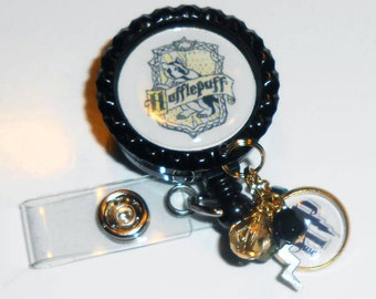 Harry Potter Inspired ID Badge Reel - Hufflepuff Id Badge Reel - Hogwarts -  Badge Reel - Lanyard - Hufflepuff Nurse Id - Retractable Reel