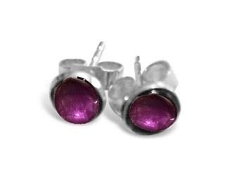 Amethyst Stud Earrings, Sterling Silver and Amethyst Earrings, February Birthstone, Birthstone Earrings, Birthstone Jewellery, Birthday Gift