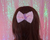 Kawaii Uchuu Kei Purple Drip Moon Pastel Goth Lace Bow