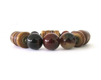 Coffee Agate Women's Statement Bracelet - Women's Jewelry - Statement Bracelet - Agate Bracelet - The Artisan Group - W9003