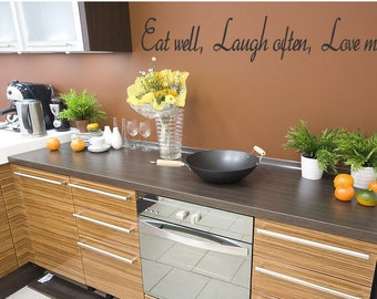 Eat Well Laugh Often Love Much Vinyl Wall Decal Quote Words Sticker Kitchen Border (225)