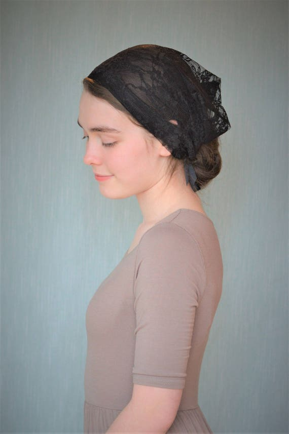 Soft Black Lace Convertible Veil | Head Covering Black Veil Black Mantilla Black Veil for Mass Veils Robin Nest Lane Catholic Chapel Veil