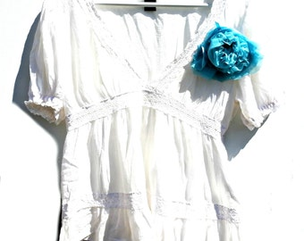 White peasant top boho chic, romantic wedding blouse clothing women, women best gifts fashion top, summer white blouse, summer cotton top