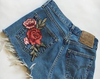 Rose Embroidered Vintage Levi Shorts High waisted denim shorts Vintage Levi Strauss