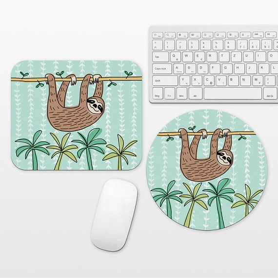 Sloth Mouse Pad Round or Rectangle, Mint Green Leaves Tropical Mouse Pad Fun Mouse Pad Animal Mousepad Cute Mouse Pad, Mouse Mat, Desk Decor