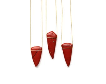 Red Jasper Spike Neckalce - Modern Boho Jewelry - 14K Gold Filled