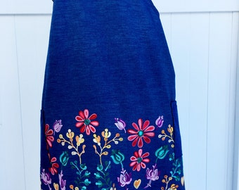 Embroidered Chambray Apron - Japanese Cross Strap Apron
