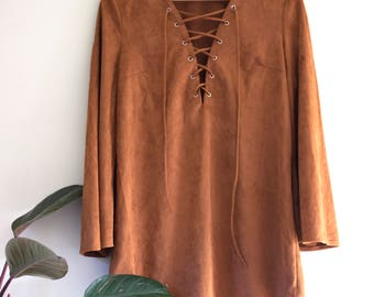 Faux Suede Brown Boho 70s Dress, Bell Sleeves and Cross Tie Up Front