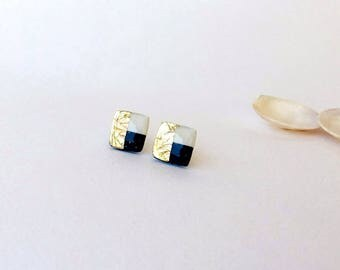 Navy blue white and gold post earrings- Color combo studs - Elegant square earrings