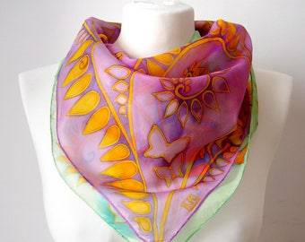 Square scarf Fern - violet scarves - mint scarves - gold leafs hand painted silk scarf - bright green and purple neck scarf - summer solace