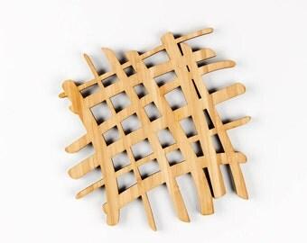 "Trivet ""Scribble"" Bamboo  - Wooden Lasercut Fun Pattern Hot Plate Pot Holder Tray"