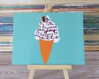 "Summer vibes postcard - Ice-cream ""Life is like "" - Sweet treats - Dessert - Positive postcard -Life quote postcard  by Tisetas&Co."