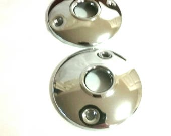 Pair of Steel Nickle Door knob Rosettes, Replacements. Measuring 2 & 1/4 inches in Diameter. Priced Per set of 2.