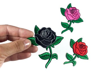Rose Patch / Iron-on Patches / Rose Tattoo / Black Rose / Pink Flower Embroidery / DIY Denim Jacket
