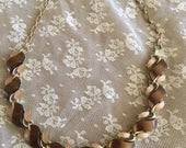 """STAR Jewelry Co Blush/Brown Thermoset Lucite 16""""-17"""" 1950s Necklace"""