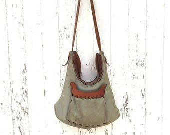 Vintage 70s Leather Purse Hand Made Saddle Leather Sage Green Boho Hippie Bag
