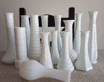 Mix & match - assorted milk glass vases // bulk vases, wedding reception  decor