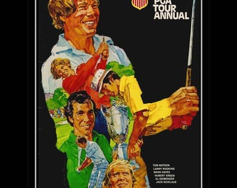 "1978 PGA Tour Annual Cover Art Poster, Tom Watson, Jack Nicklaus, Geiberger, Wadkins, Illustration Wall Art, 8x10"", 11x14"", Free Ship"