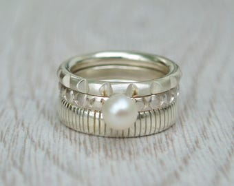 Silver chunky stacking rings - Notched ring - Fresh water pearl ring - Stripes ring - Handmade in any size