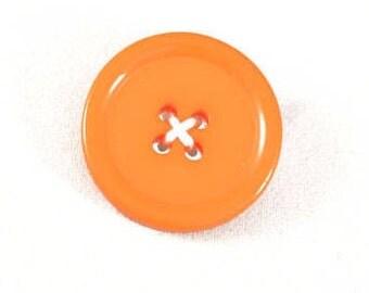 Button Brooch - Orange Brooch - Button Badge - Boho Brooch - Upcycled Badge - Button Jewellery - Upcycled Jewellery - Unique Brooch - Orange