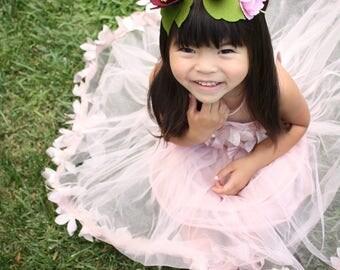 Flower Crown / Flower Girl Crown / Felt Flower Crown / Blush Floral Crown / Blush Wedding / Bridal Party / Bridal Shower