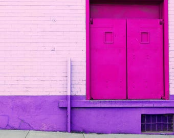 """That Other Pink Door Fine Art Photography Print Candy Minimal Pink Purple Architecture Photo Print 12""""x12"""""""