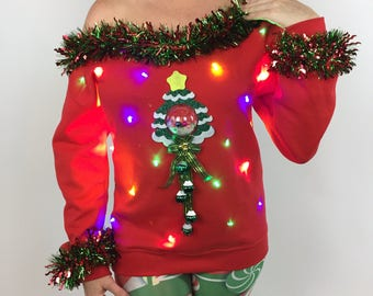 Women's Ugly Sweater, Light Up Christmas Tree Tacky, Ugly Christmas Sweater, Ugly Sweater Party, Christmas Party, Xmas Sweater