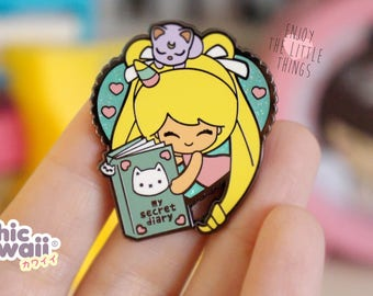 Chic Kawaii sailor moon girl with diary enamel pin.